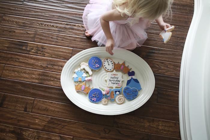 Birthday Girl + Cookies from a Chic Cinderella Themed Birthday Party via Kara's Party Ideas - KarasPartyIdeas.com (6)