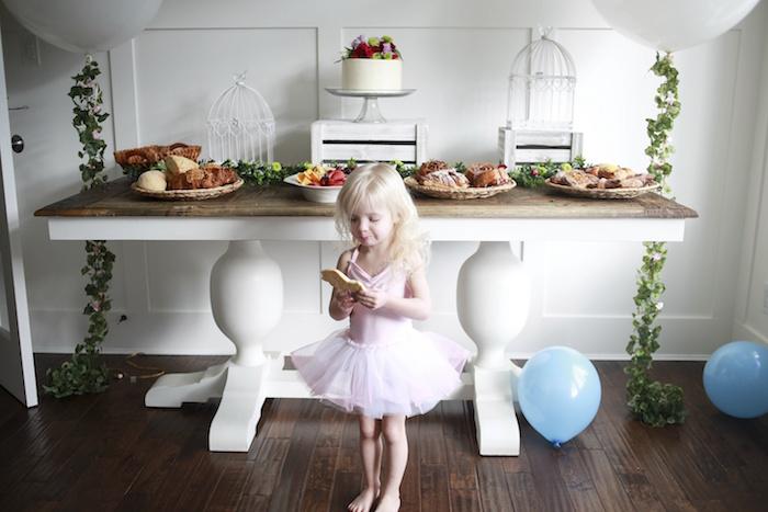 Birthday Girl + Dessert Table from a Chic Cinderella Themed Birthday Party via Kara's Party Ideas - KarasPartyIdeas.com (5)