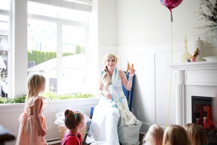 Party Guests listening to a Princess from a Chic Cinderella Themed Birthday Party via Kara's Party Ideas - KarasPartyIdeas.com (3)
