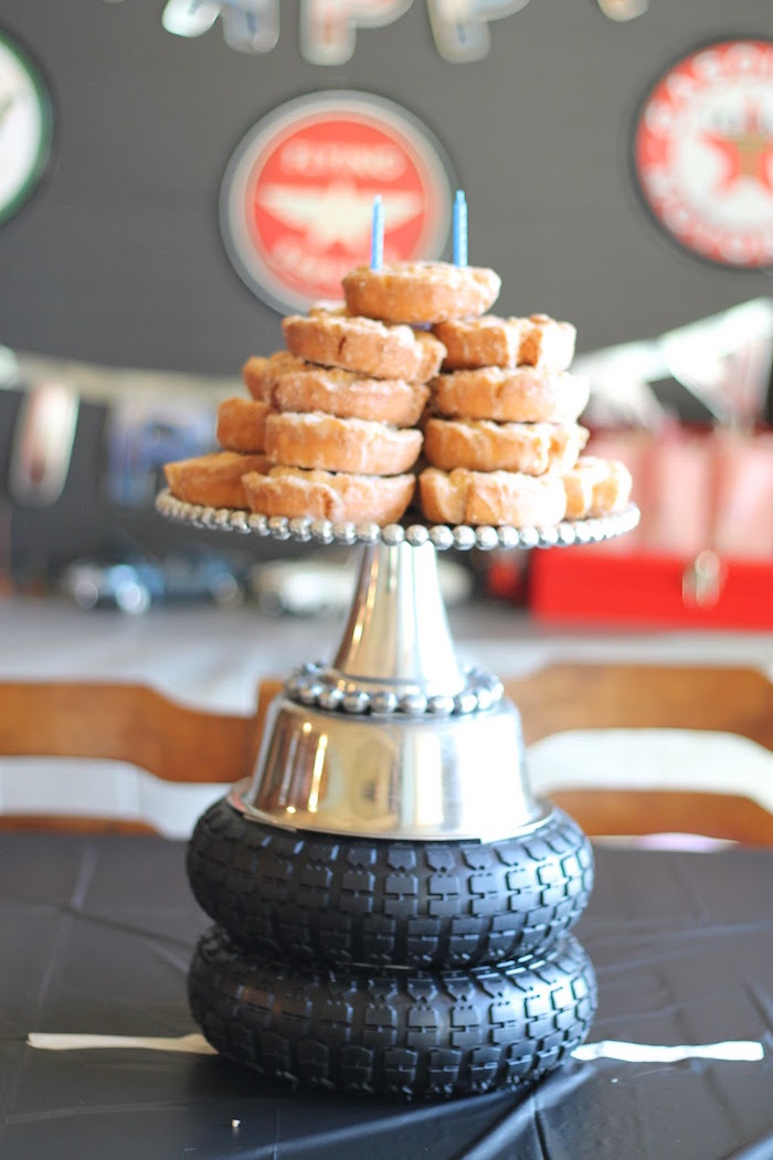 Old Fashioned Donut Cake from a Classic Car Garage Birthday Party via Kara's Party Ideas | KarasPartyIdeas.com (5)