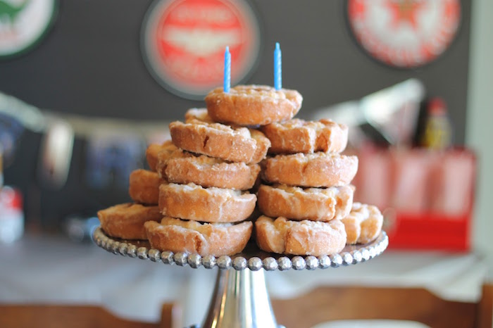 Stacked Old Fashioned Donuts from a Classic Car Garage Birthday Party via Kara's Party Ideas   KarasPartyIdeas.com (4)