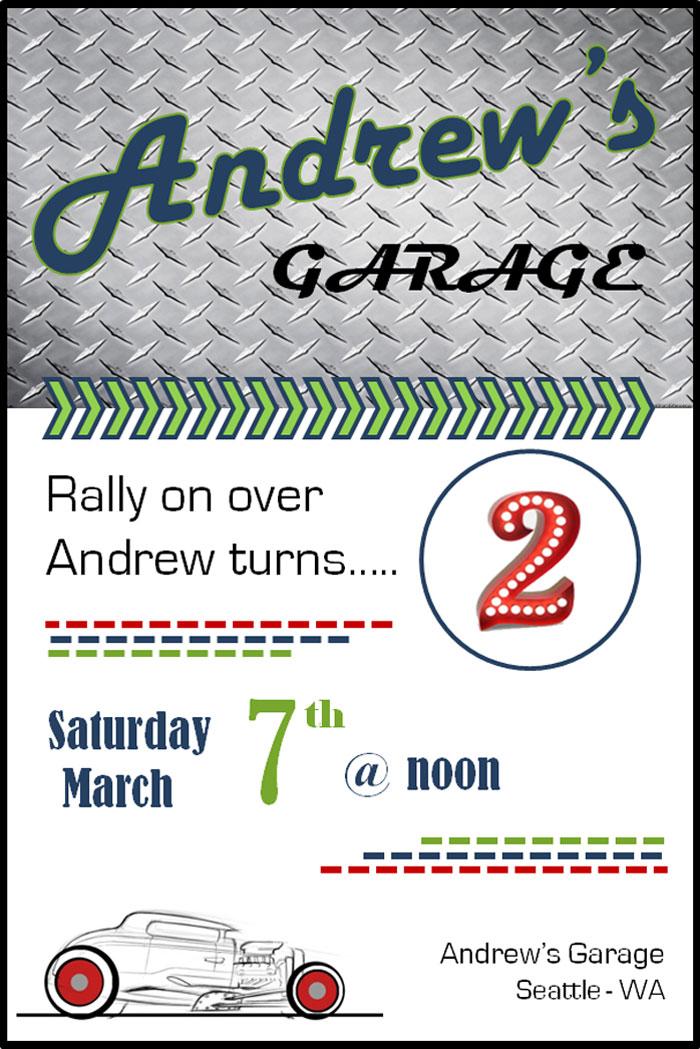 Invitation from a Classic Car Garage Birthday Party via Kara's Party Ideas   KarasPartyIdeas.com (2)
