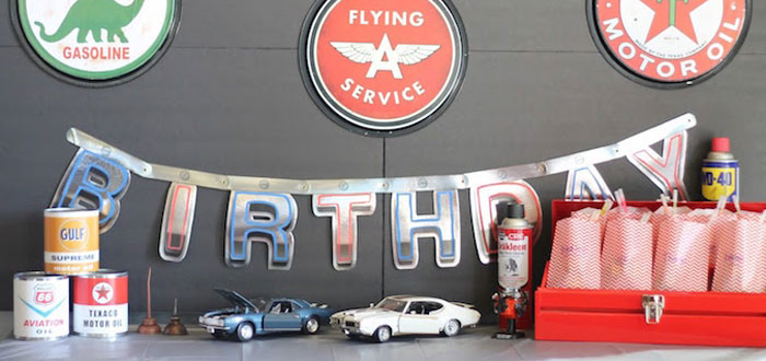 Details from a Classic Car Garage Birthday Party via Kara's Party Ideas | KarasPartyIdeas.com (1)
