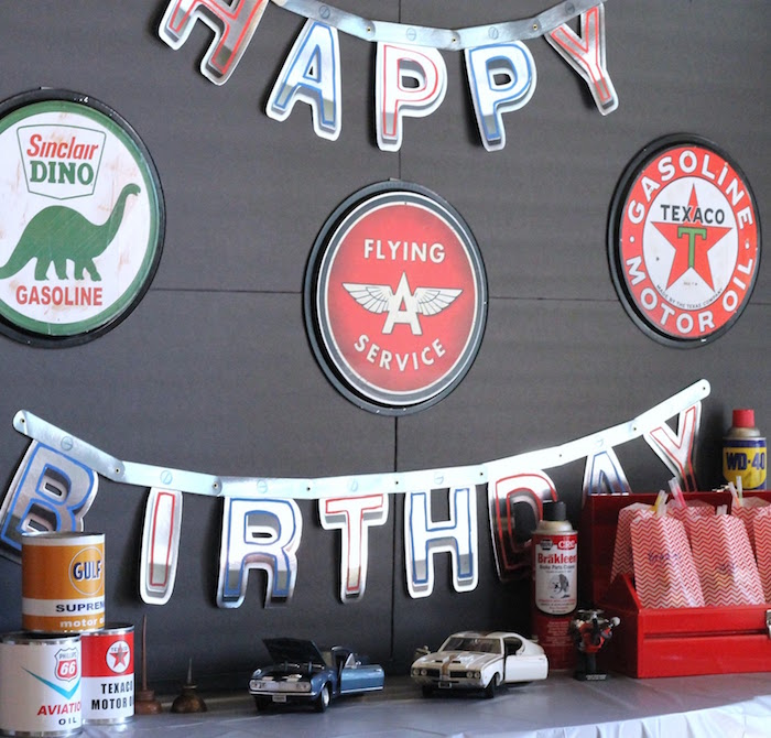 Head Table from a Classic Car Garage Birthday Party via Kara's Party Ideas | KarasPartyIdeas.com (19)