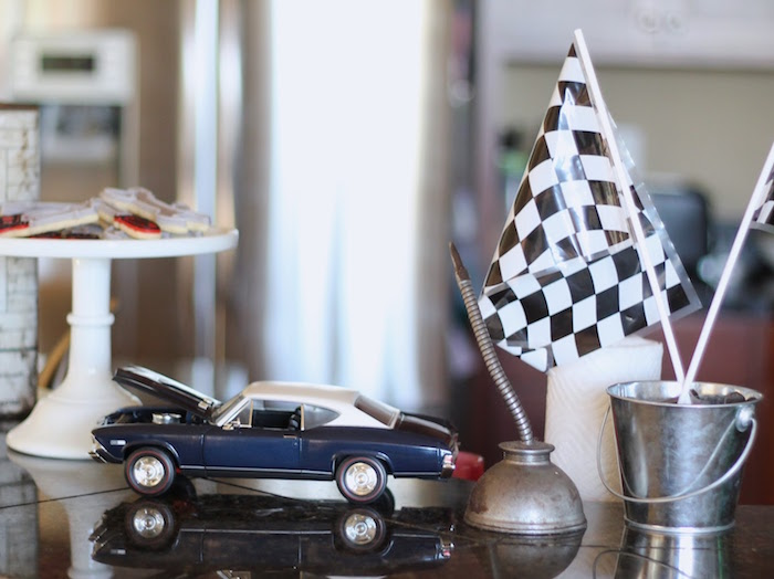 Decor Details from a Classic Car Garage Birthday Party via Kara's Party Ideas | KarasPartyIdeas.com (17)