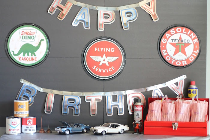 Main Table from a Classic Car Garage Birthday Party via Kara's Party Ideas | KarasPartyIdeas.com (16)