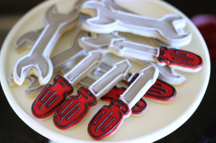 Screwdriver + Wrench Cookies from a Classic Car Garage Birthday Party via Kara's Party Ideas | KarasPartyIdeas.com (15)