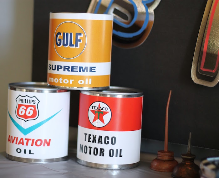 Vintage Oil Cans from a Classic Car Garage Birthday Party via Kara's Party Ideas | KarasPartyIdeas.com (12)