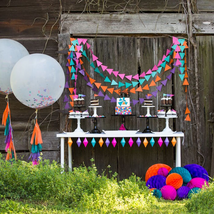 Sweet Table Display from a Colorful Geometric Graduation Party via Kara's Party Ideas | KarasPartyIdeas.com | The Place for All Things Party! (38)