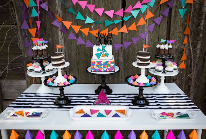 sweet table details from a colorful geometric graduation party via karas party ideas karaspartyideas - Graduation Decoration Ideas