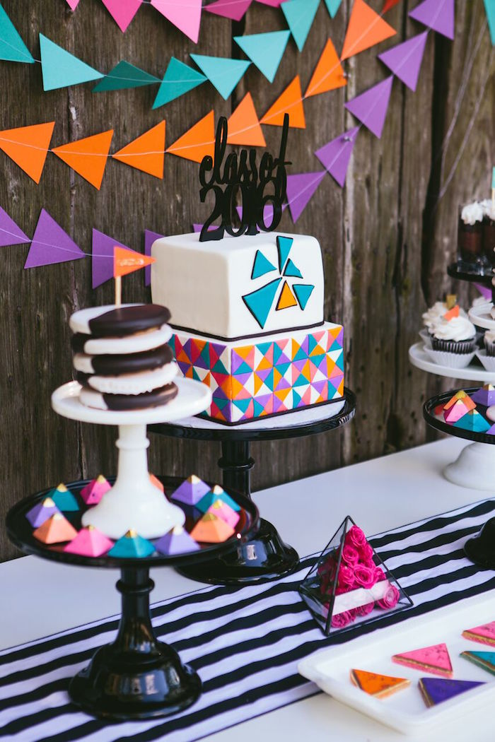 Kara's Party Ideas Colorful Geometric Graduation Party ...