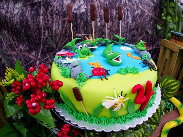 Cake from a Crocodiles & Insects Birthday Party via Kara's Party Ideas - KarasPartyIdeas.com (12)