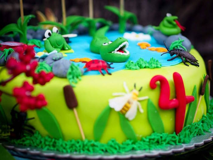Cake Detail from a Crocodiles & Insects Birthday Party via Kara's Party Ideas - KarasPartyIdeas.com (5)