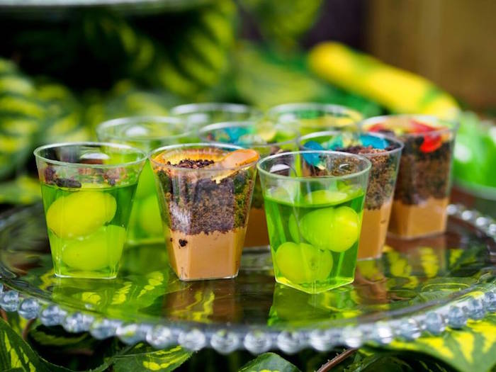 Dessert Cups from a Crocodiles & Insects Birthday Party via Kara's Party Ideas - KarasPartyIdeas.com (4)