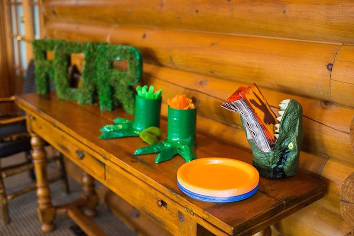 Utensil + Plate Table from a Dinosaur 5th Birthday Party via Kara's Party Ideas | KarasPartyIdeas.com | The Place for All Things Party! (12)