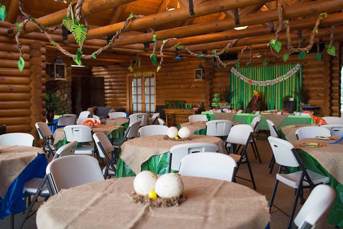 Guest Tables + Partyscape from a Dinosaur Birthday Party via Kara's Party Ideas | KarasPartyIdeas.com | The Place for All Things Party! (4)
