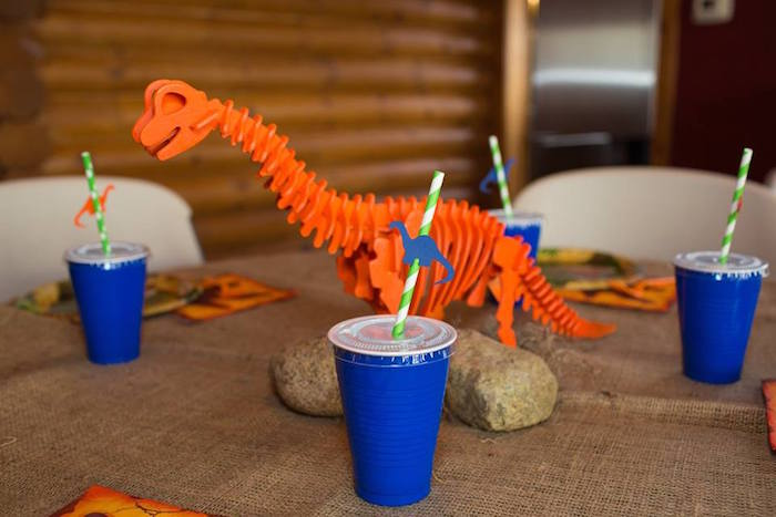 Guest Table Details from a Dinosaur Birthday Party via Kara's Party Ideas | KarasPartyIdeas.com | The Place for All Things Party! (16)