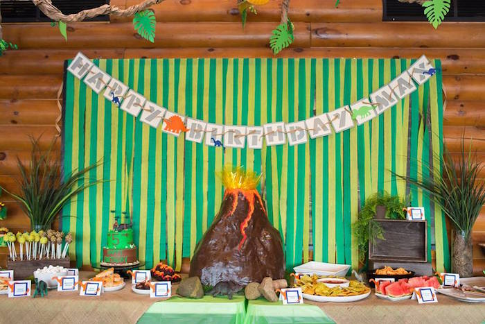 Sweet Table + Display from a Dinosaur Birthday Party via Kara's Party Ideas | KarasPartyIdeas.com | The Place for All Things Party! (14)