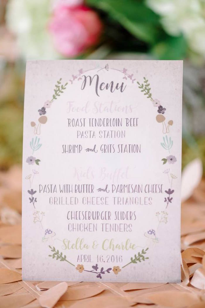 Menu Card from an Enchanted Woodland Forest Birthday Party via Kara's Party Ideas | KarasPartyIdeas.com - The Place for All Things Party! (9)