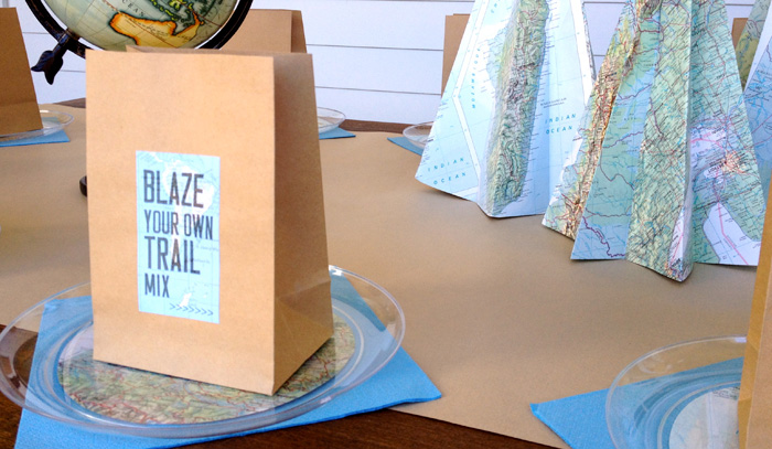 """Guest Table Details from an """"Explore Your World"""" Travel Birthday Party via Kara's Party Ideas 