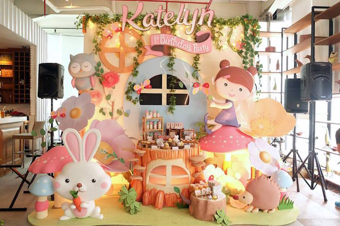 Party Stage from a Fairy Garden Birthday Party via Kara's Party Ideas KarasPartyIdeas.com (6)