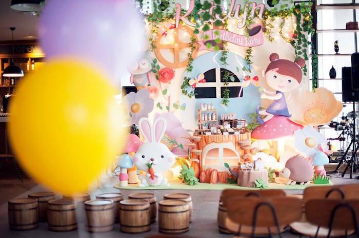 Dessert Display + Party Stage/Backdrop from a Fairy Garden Birthday Party via Kara's Party Ideas KarasPartyIdeas.com (3)