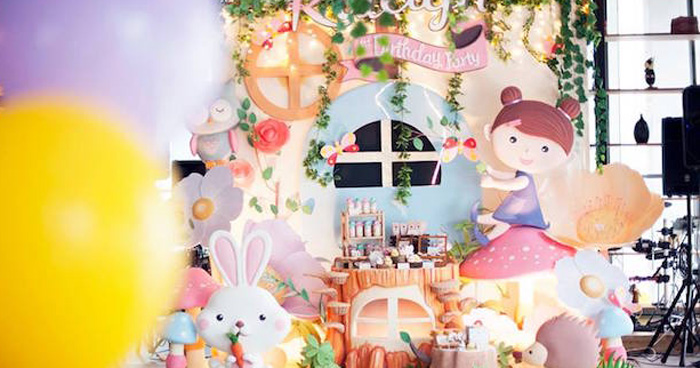 Backdrop from a Fairy Garden Birthday Party via Kara's Party Ideas KarasPartyIdeas.com (1)