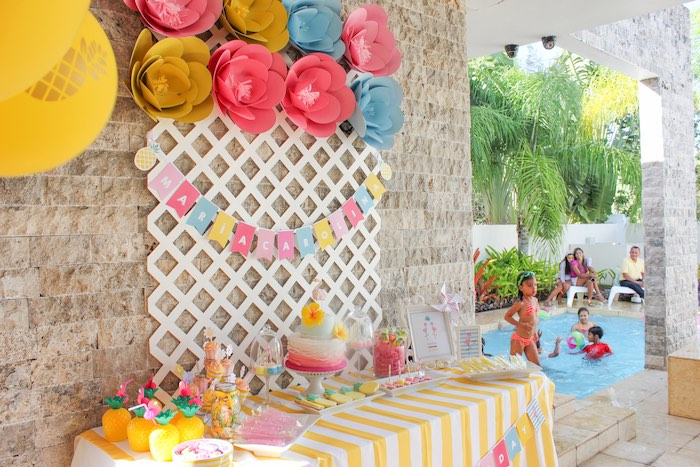 Sweet Table from a Flamingo pineapple themed birthday party via Kara's Party Ideas | KarasPartyIdeas.com (34)
