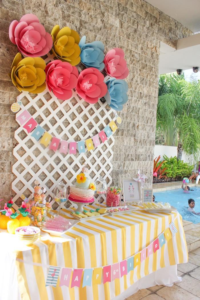 Head Table from a Flamingo pineapple themed birthday party via Kara's Party Ideas | KarasPartyIdeas.com (33)