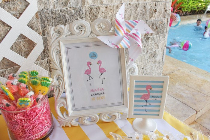 Details + Stationery from a Flamingo pineapple themed birthday party via Kara's Party Ideas | KarasPartyIdeas.com (31)