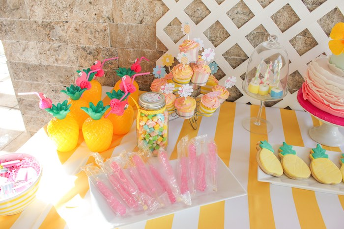 Dessert Table Details from a Flamingo pineapple themed birthday party via Kara's Party Ideas | KarasPartyIdeas.com (30)