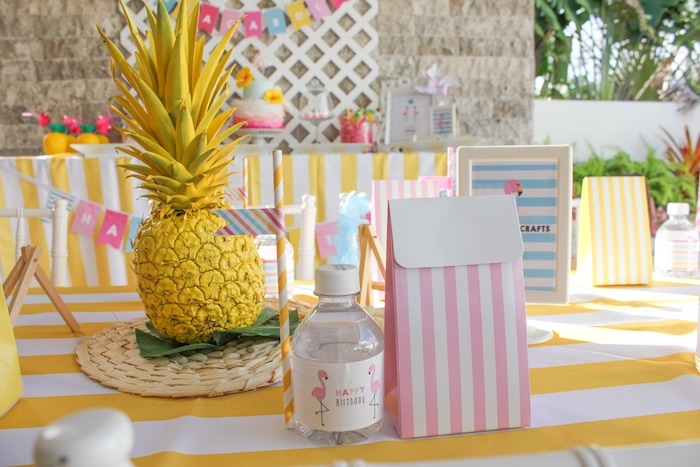 Guest Table Details from a Flamingo pineapple themed birthday party via Kara's Party Ideas | KarasPartyIdeas.com (27)