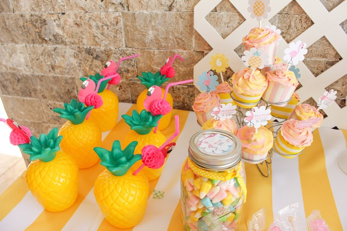 Pineapple Drink Containers + Sweets from a Flamingo pineapple themed birthday party via Kara's Party Ideas | KarasPartyIdeas.com (43)