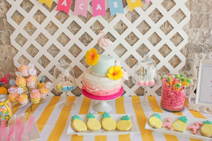 Sweet Table Details from a Flamingo pineapple themed birthday party via Kara's Party Ideas | KarasPartyIdeas.com (42)