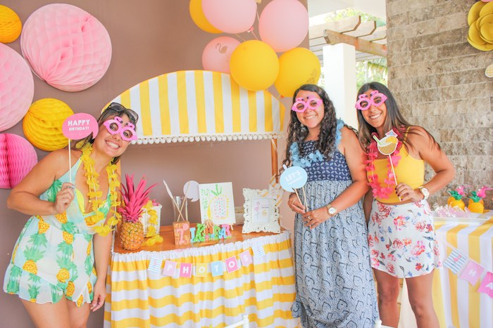 Photo Op from a Flamingo pineapple themed birthday party via Kara's Party Ideas | KarasPartyIdeas.com (16)