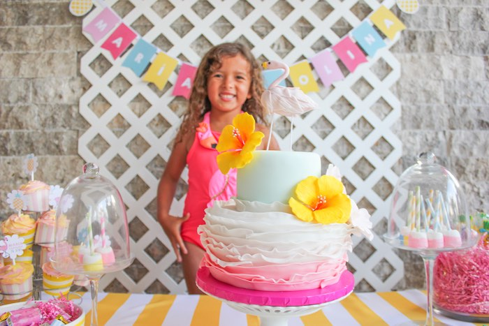 Cake + Birthday Girl from a Flamingo pineapple themed birthday party via Kara's Party Ideas | KarasPartyIdeas.com (13)