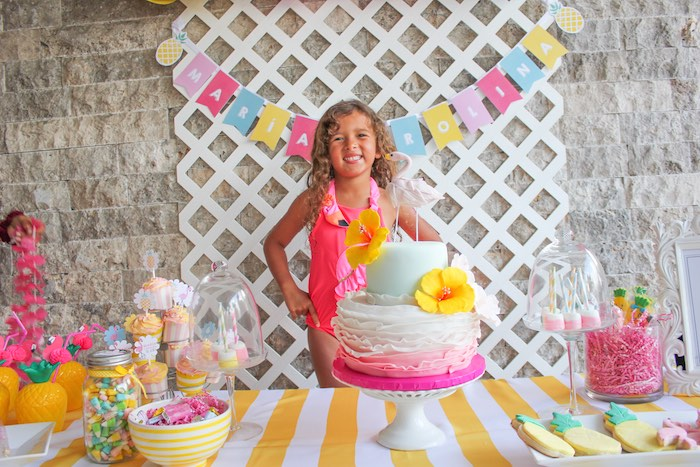Birthday girl + dessert table details from a Flamingo pineapple themed birthday party via Kara's Party Ideas | KarasPartyIdeas.com (12)