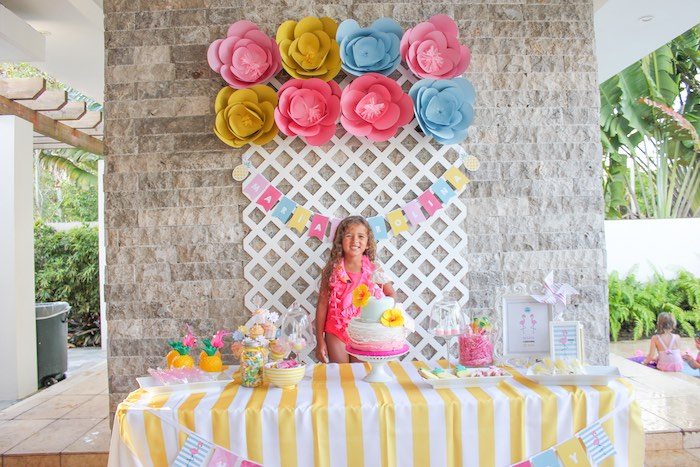 Birthday girl + dessert table from a Flamingo pineapple themed birthday party via Kara's Party Ideas | KarasPartyIdeas.com (11)