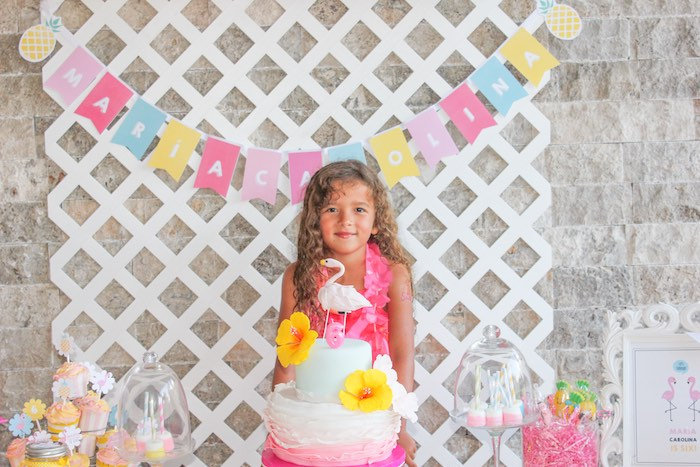 Birthday Girl + Cake from a Flamingo pineapple themed birthday party via Kara's Party Ideas | KarasPartyIdeas.com (10)