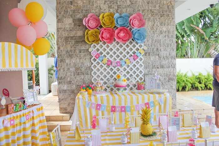 Details + Setup from a Flamingo pineapple themed birthday party via Kara's Party Ideas | KarasPartyIdeas.com (41)