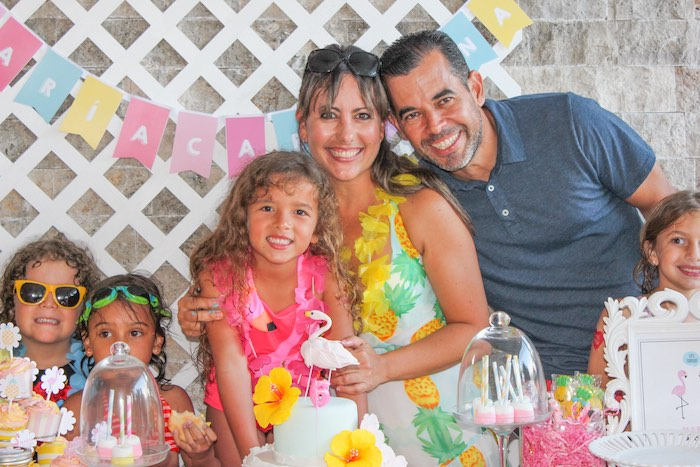 Birthday Girl + Parents from a Flamingo pineapple themed birthday party via Kara's Party Ideas | KarasPartyIdeas.com (8)