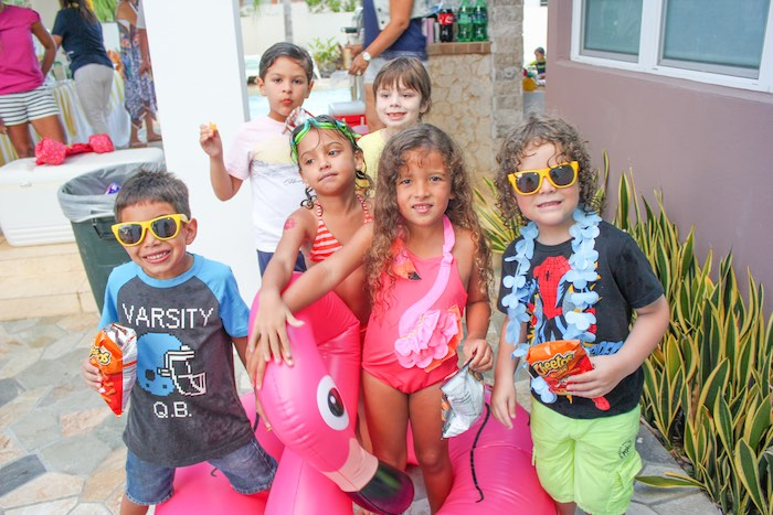 Party Goers from a Flamingo pineapple themed birthday party via Kara's Party Ideas | KarasPartyIdeas.com (7)
