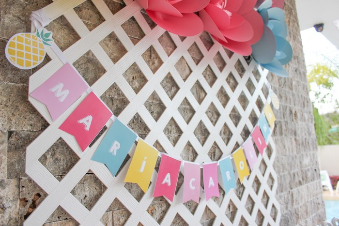 Dessert Table Banner + Lattice Backdrop from a Flamingo pineapple themed birthday party via Kara's Party Ideas | KarasPartyIdeas.com (6)