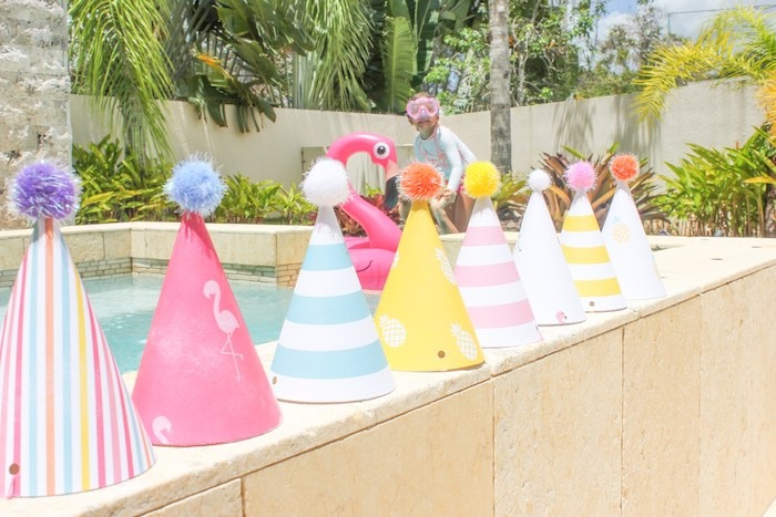 Party Hats from a Flamingo pineapple themed birthday party via Kara's Party Ideas | KarasPartyIdeas.com (5)