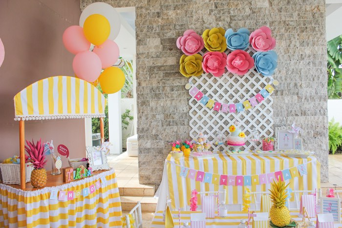 Karas Party Ideas Party Display from a Flamingo pineapple themed
