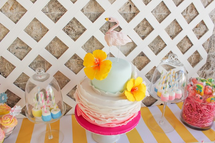 Cake from a Flamingo pineapple themed birthday party via Kara's Party Ideas | KarasPartyIdeas.com (38)