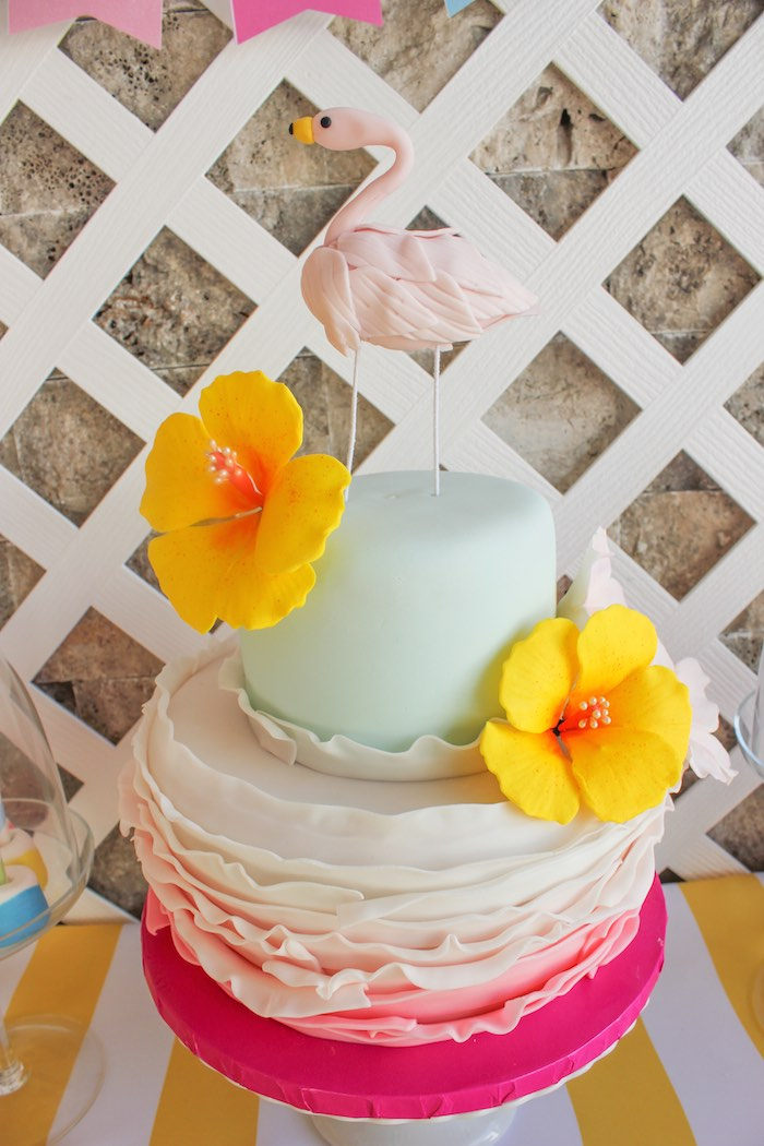 Cake from a Flamingo pineapple themed birthday party via Kara's Party Ideas | KarasPartyIdeas.com (37)
