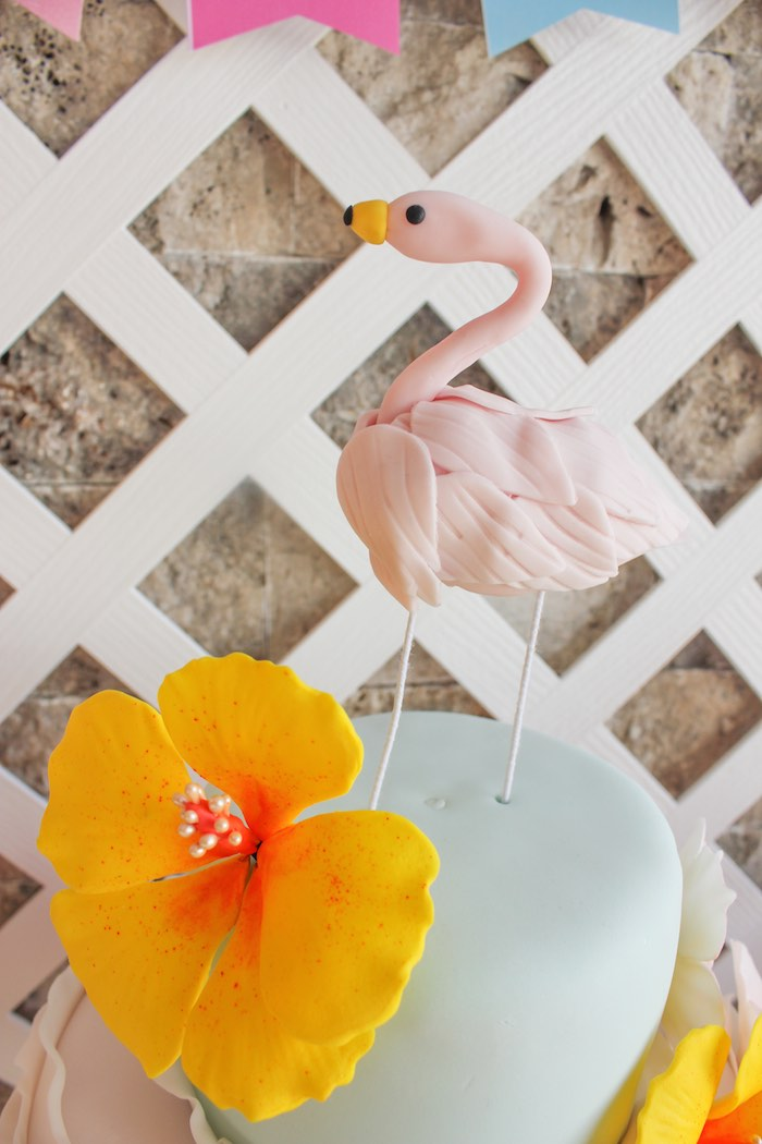 Flamingo Cake Topper from a Flamingo pineapple themed birthday party via Kara's Party Ideas | KarasPartyIdeas.com (36)