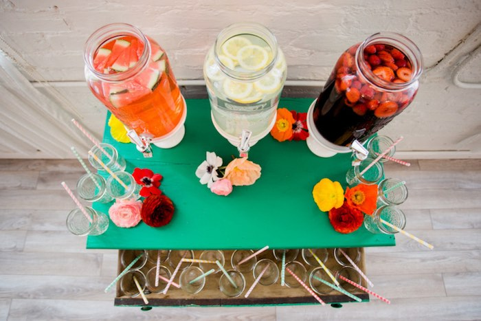 Drink Tabletop from a Flower Crown Crafting Party via Kara's Party Ideas | KarasPartyIdeas.com (71)