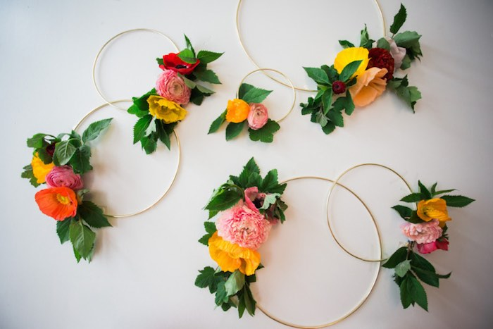 Dessert Display Backdrop made from gold embroidery hoops + flowers from a Flower Crown Crafting Party via Kara's Party Ideas | KarasPartyIdeas.com (35)